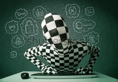 Hacker maszk vírus hackelés gondolatok zöld Stock fotó © ra2studio