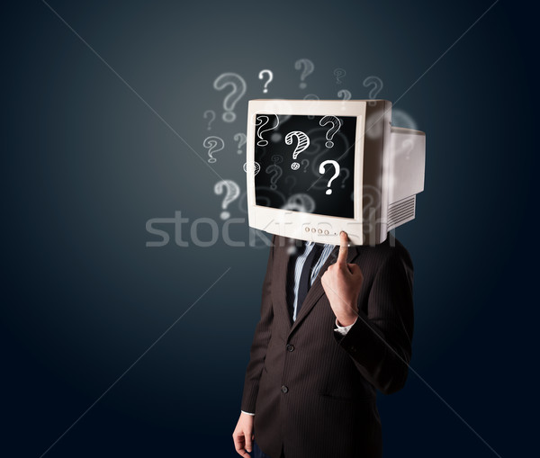 ビジネスマン コンピュータモニター 頭 疑問符 ビジネス 顔 ストックフォト © ra2studio