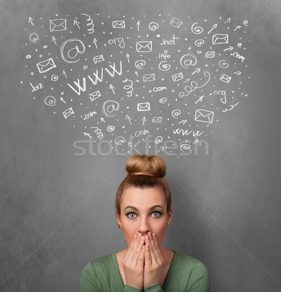 Jonge vrouw denken iconen boven hoofd Stockfoto © ra2studio