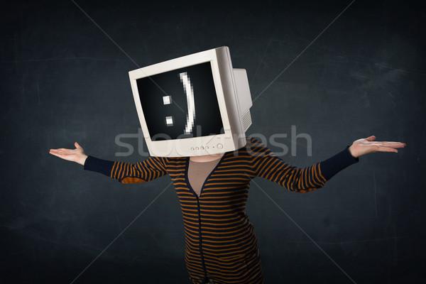 Stockfoto: Grappig · meisje · monitor · vak · hoofd