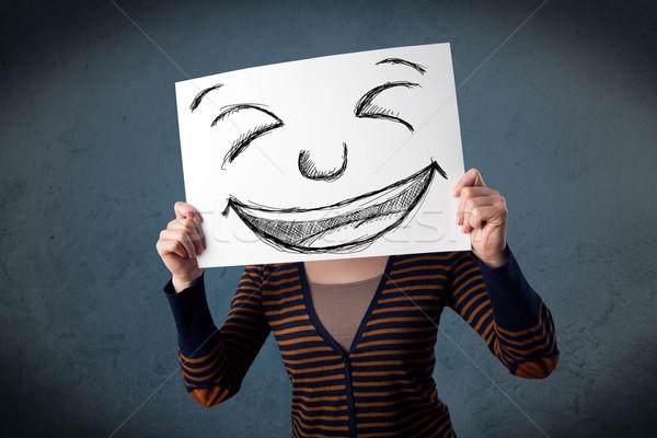 Mulher rosto sorridente papel cabeça mulher jovem Foto stock © ra2studio