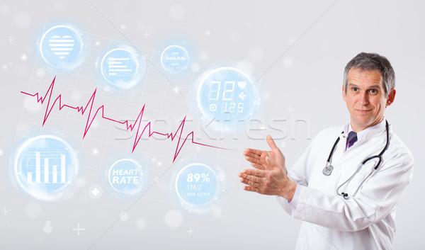 Orvos modern szívdobbanás grafika klinikai orvosi Stock fotó © ra2studio