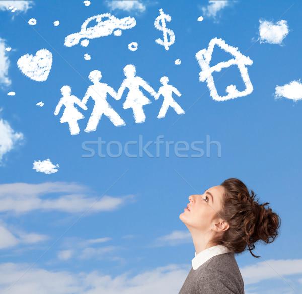 若い女の子 空想 家族 家庭 雲 青空 ストックフォト © ra2studio