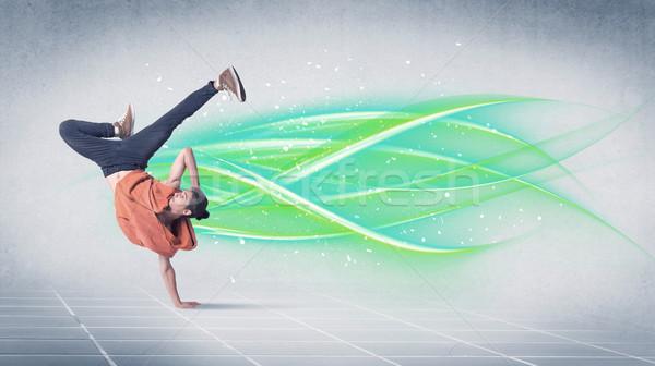 хип-хоп танцовщицы позируют зеленый линия красивый Сток-фото © ra2studio