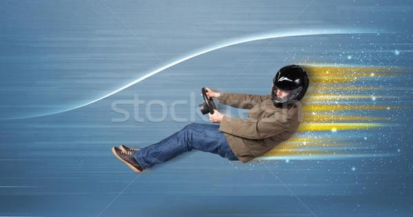 Photo stock: Jeune · homme · conduite · imaginaire · rapide · voiture · floue
