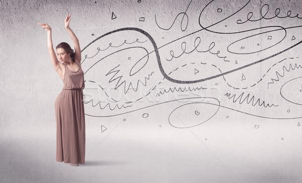 Ballerino di danza classica arte dance linee frecce Foto d'archivio © ra2studio