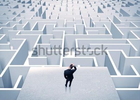 Affaires regarder infini labyrinthe élégante permanent Photo stock © ra2studio