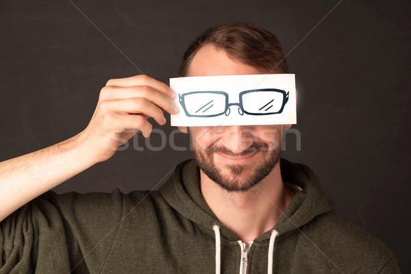 Boldog fickó néz papír kézzel rajzolt szem Stock fotó © ra2studio