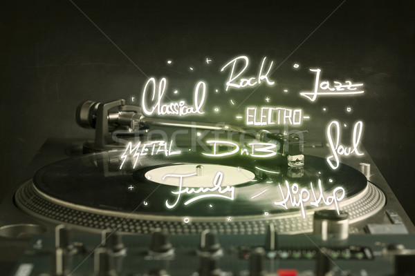 Turntable with vinyl and music genres writen  Stock photo © ra2studio