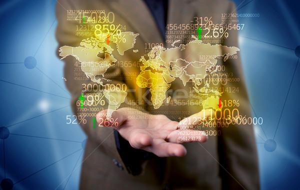 Homme d'affaires terre statistiques carte élégante Photo stock © ra2studio