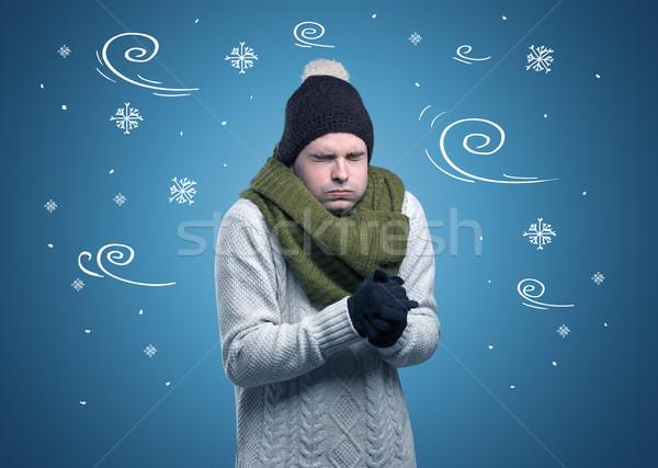 Congelada menino floco de neve ventoso jovem Foto stock © ra2studio