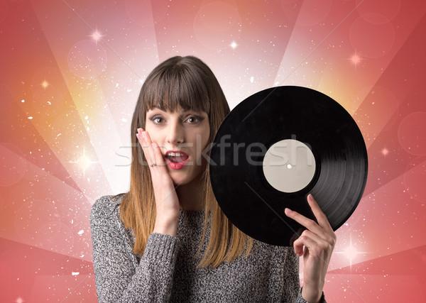 女性 ビニール レコード 小さな 赤 ストックフォト © ra2studio