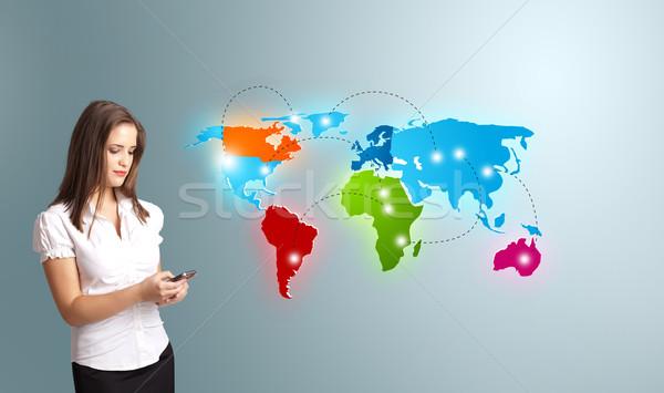 телефон красочный Мир карта Сток-фото © ra2studio