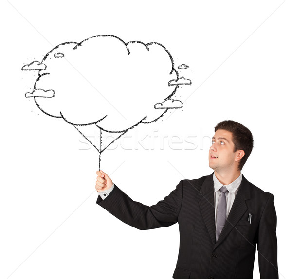Handsome man holding cloud balloon drawing Stock photo © ra2studio