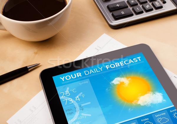 Lugar de trabajo tiempo pronóstico taza Foto stock © ra2studio