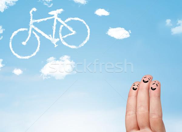 Gelukkig vingers naar fiets wolk Stockfoto © ra2studio