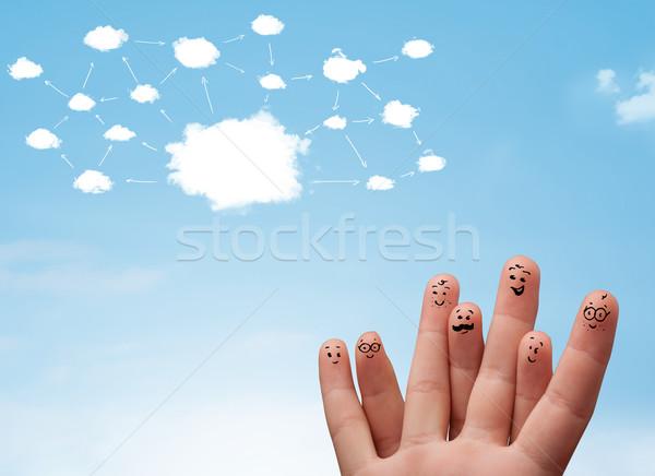 Doigt réseau cloud visages main sourire Photo stock © ra2studio