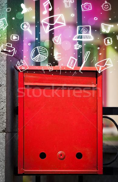 Colorato icone simboli fuori mailbox moderno Foto d'archivio © ra2studio