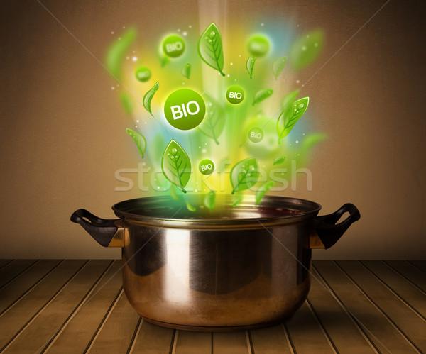 Foto stock: Bio · sinais · fora · panela · saudável · saúde
