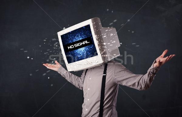 Człowiek monitor głowie nie sygnał podpisania Zdjęcia stock © ra2studio