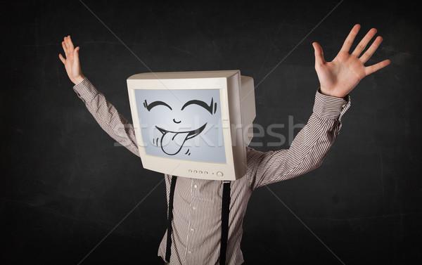 Stockfoto: Gelukkig · zakenman · scherm · glimlach