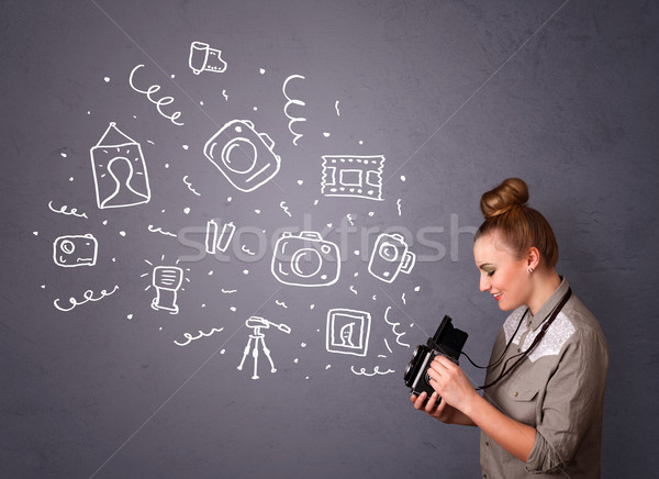 Photographer girl shooting photography icons Stock photo © ra2studio