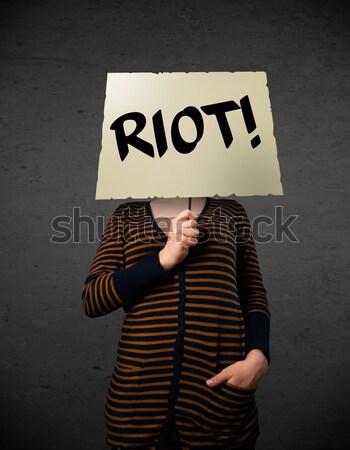 Stockfoto: Jonge · vrouw · protest · teken · demonstratie · boord