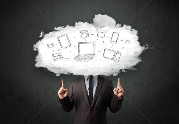 Stock fotó: Profi · üzletember · felhő · hálózat · fej · internet · technológia