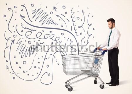 Zdjęcia stock: Biznesmen · koszyk · popychanie · linie