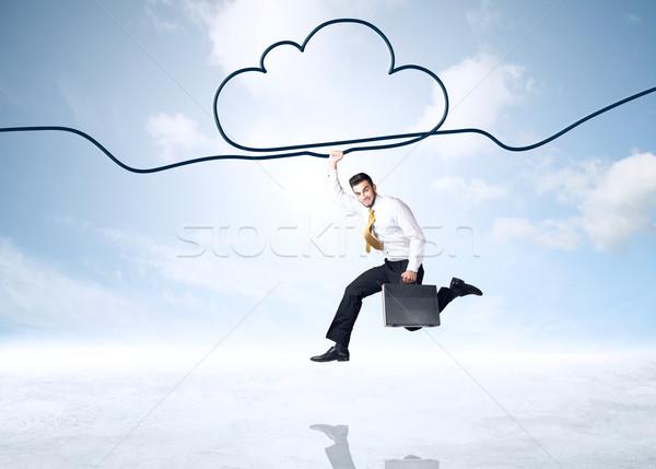 Stockfoto: Opknoping · zakenman · wolk · touw · hand · ruimte