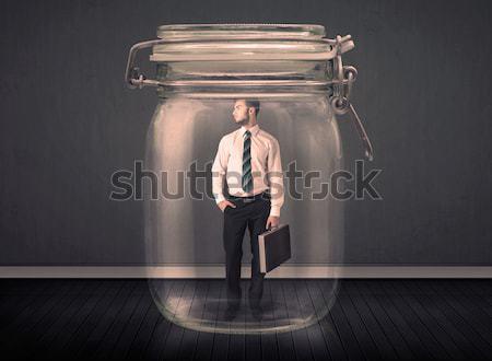 Biznesmen uwięzione szkła jar biuro teen Zdjęcia stock © ra2studio
