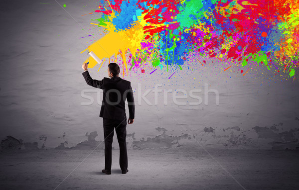 Verkoop persoon schilderij kleurrijk splatter elegante Stockfoto © ra2studio