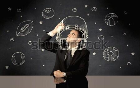 Geschäftsmann Zeichnung Helm Sport Kugeln glücklich Stock foto © ra2studio