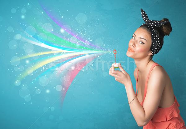 Piękna dziewczyna streszczenie kolorowy pęcherzyki linie Zdjęcia stock © ra2studio