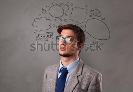 Extreme Frisur Porträt Jahrgang Gesicht Stock foto © ra2studio