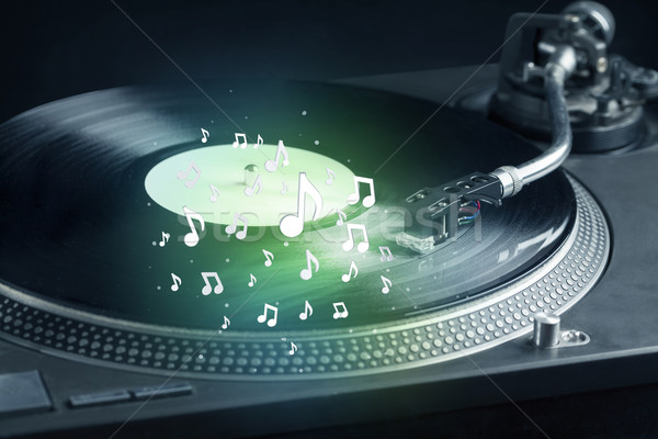Draaitafel spelen muziek audio merkt Stockfoto © ra2studio