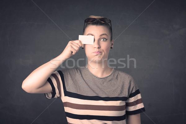 Bella ragazza copia spazio carta occhi Foto d'archivio © ra2studio