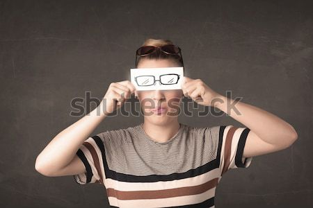 Hülye ifjonc néz kézzel rajzolt szem papír Stock fotó © ra2studio