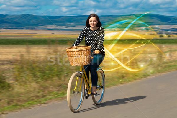 Magisch jonge fietser paardrijden fiets landschap Stockfoto © ra2studio