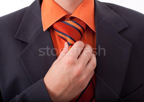 Detail of a man, fixing his tie Stock photo © ra2studio