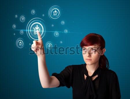 деловая женщина виртуальный обмен сообщениями тип иконки Сток-фото © ra2studio