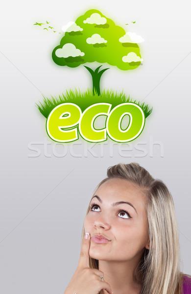 Stockfoto: Jong · meisje · naar · groene · eco · teken · hoofd