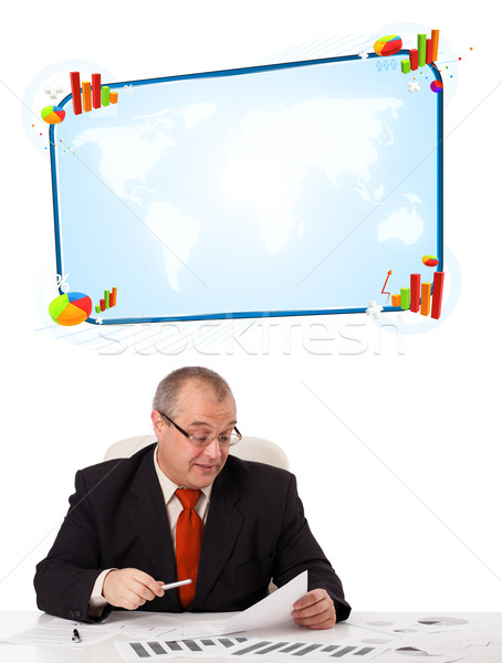 Businessman sitting at desk with copy space Stock photo © ra2studio
