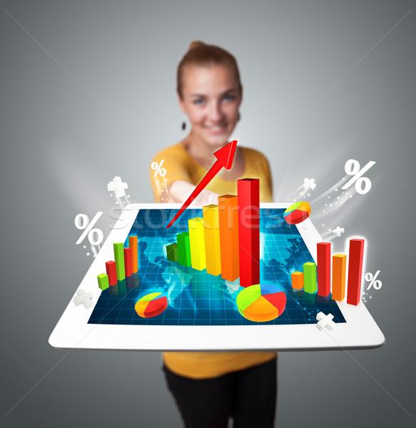Stockfoto: Jonge · vrouw · tablet · kleurrijk · grafieken · diagrammen