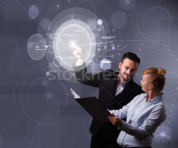 幸せ カップル 触れる 抽象的な ハイテク ストックフォト © ra2studio