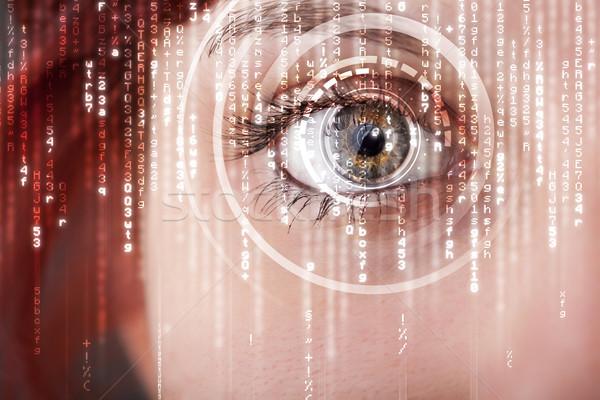 Moderne vrouw matrix oog computer abstract Stockfoto © ra2studio