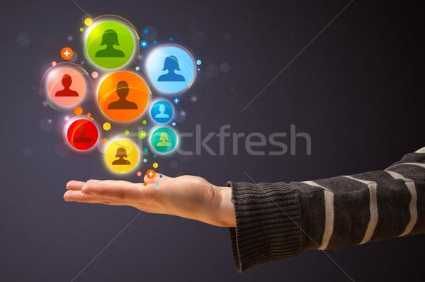 Rede social ícones mão mulher colorido Foto stock © ra2studio