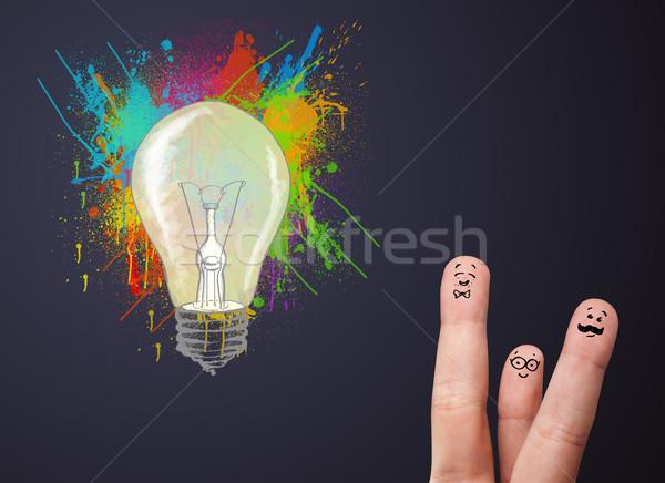 Gelukkig vrolijk vingers naar abstract Stockfoto © ra2studio