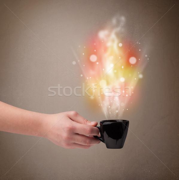 Coffee mug with abstract steam and colorful lights Stock photo © ra2studio
