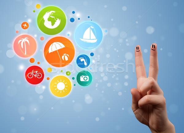 Heiter glücklich lächelnd Finger farbenreich Urlaub Stock foto © ra2studio